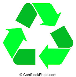 Two tone green international Recycle Symbol, illustration...