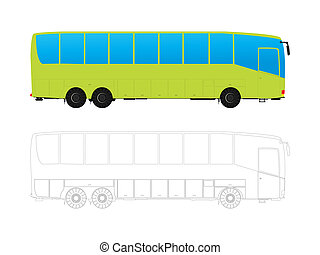 Tour bus - Detailed tour bus in colors and outlines against...