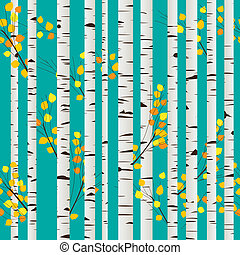 Birch forest pattern - Autumn birch forest seamless pattern,...