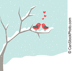 Christmas Birds in Love - Illustration of two cute birds in...