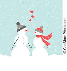 Snowmen in Love - Illustration of two cute snowmen in love...