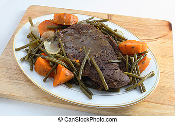 Pot roast ready for carving - A traditional American...