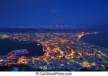 Hakodate City night sight top view from Hakodate Mountain