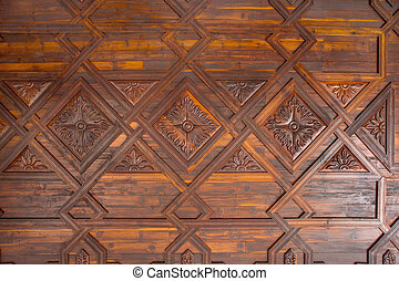 Santa Cruz de La Palma coffered wood ceiling in Canary...
