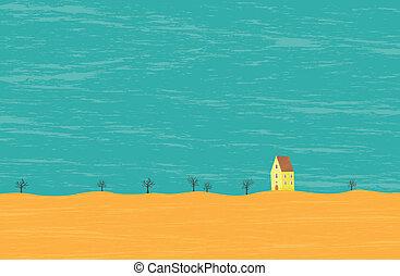 Barren Rural House - Vector lone house in a barren...