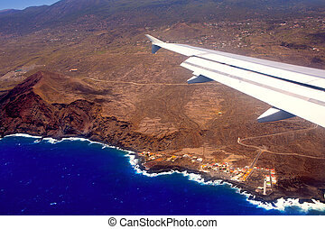 Aerial view from airplane of La Palma at Canary islands