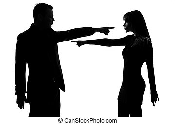 one couple man and woman Criticism concept - one caucasian...