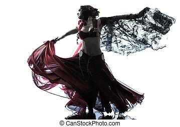 árabe, mujer, vientre, bailarín, bailando