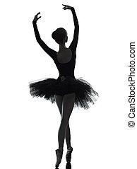 joven, mujer, bailarina, ballet, bailarín, bailando