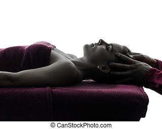 head massage therapy silhouette - woman receiving head...