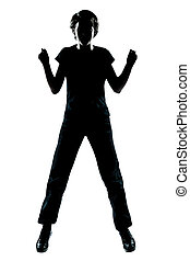 one young teenager boy or girl silhouette happy jumping -...