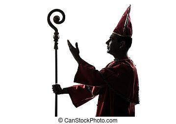 hombre, cardinal, obispo, silueta, saludar, bendición