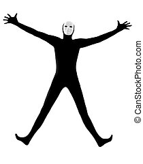 performer mime with mask happy saluting - performer man mime...