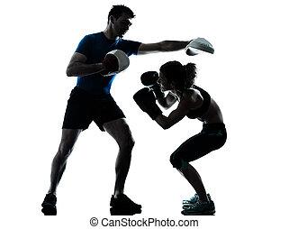 homem, mulher, boxe, treinamento