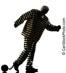 man prisoner criminal with chain ball
