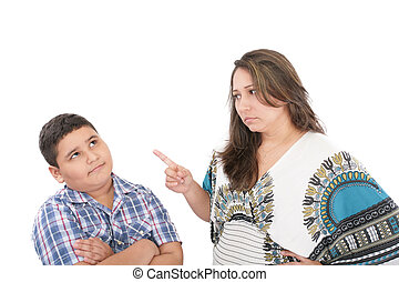 Mother scolding her son isolated on white background