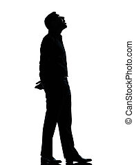 one business man looking up mouth open silhouette