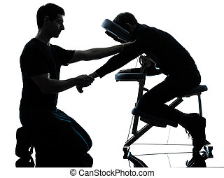 hands arms massage therapy with chair - two men performing...