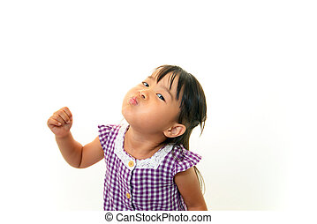 Little asian girl gargling