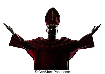 man cardinal bishop silhouette saluting blessing - one man...