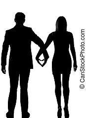 one lovers couple man and woman walking hand in hand