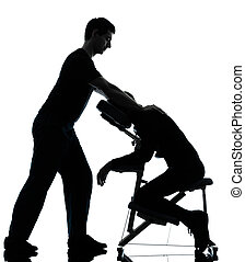 massage therapy with chair - two men performing chair back...