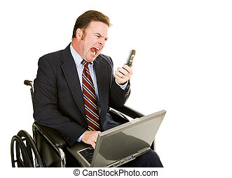 Disabled Businessman - Yelling