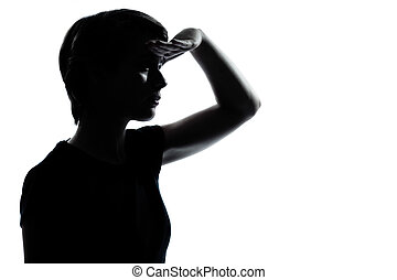 one young teenager girl looking foward silhouette