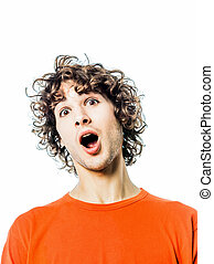 young man surprised amazed portrait - one young man...