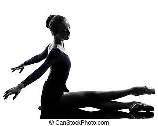 young woman ballerina ballet dancer stretching warming up -...