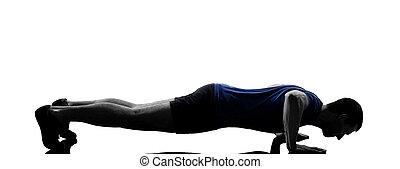 man exercising workout push ups - man exercising push ups...