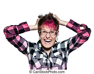 Angry woman pulling her hair in frustration