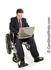 Disabled Businessman and Computer - Disabled businessman in...