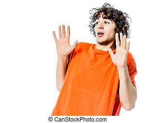 young man gesturing surprised fear afraid portrait