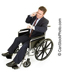 Disabled Businessman Running Late - Businessman in...