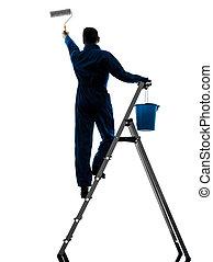 homme, maison, Peintre, ouvrier, silhouette