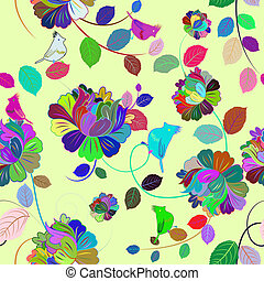 Seamless multicolor floral pattern - Seamless vector floral...
