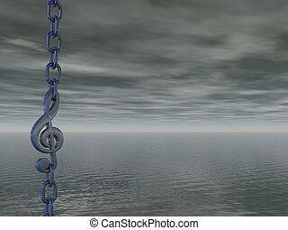 dark sounds - metal chain with clef in front of dark sky -...