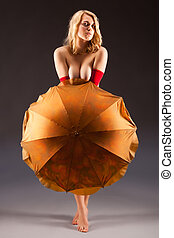 attractive naked woman - attractive naked blonde woman with...