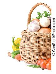 食物, 籃子, 白色, 蔬菜, 被隔离