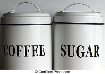 Coffee and sugar containers - White coffee and sugar...