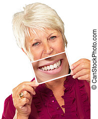 Senior Woman With Magnifying Glass Showing Teeth On White...