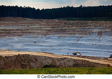 Glass sand quarry - Open mine pit excavating glass sand