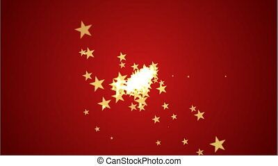 Shot of part stars red - stars particles animation...