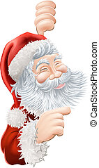 Christmas Santa Claus Pointing - Illustration of happy...