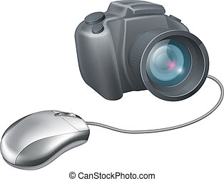Camera computer mouse concept, a computer mouse attached to...