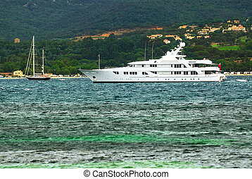 Luxury yacht at the coast of French Riviera - Luxury yacht...