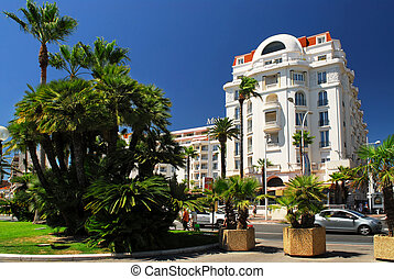 Croisette promenade in Cannes - Luxury hotel on Croisette...