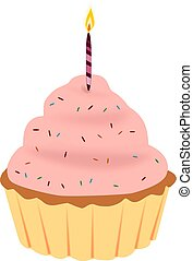 Cute cupcake - Illustration of the cupcake with candle