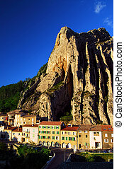 Town of Sisteron in Provence France - Houses at the base of...